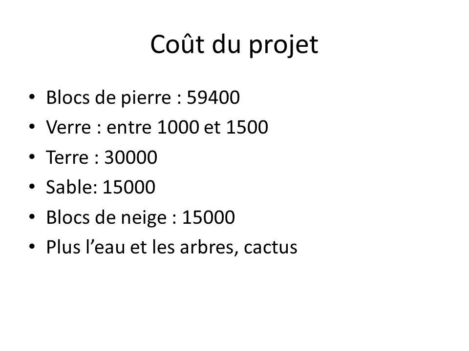 Coût du projet Blocs de pierre : 59400 Verre : entre 1000 et 1500 Terre : 30000 Sable: 15000 Blocs de neige : 15000 Plus leau et les arbres, cactus