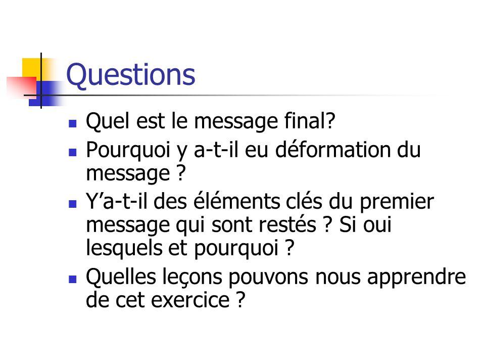 Questions Quel est le message final.Pourquoi y a-t-il eu déformation du message .