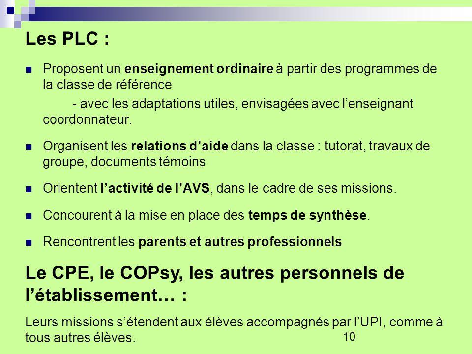 10 Les PLC : Proposent un enseignement ordinaire à partir des programmes de la classe de référence - avec les adaptations utiles, envisagées avec lens