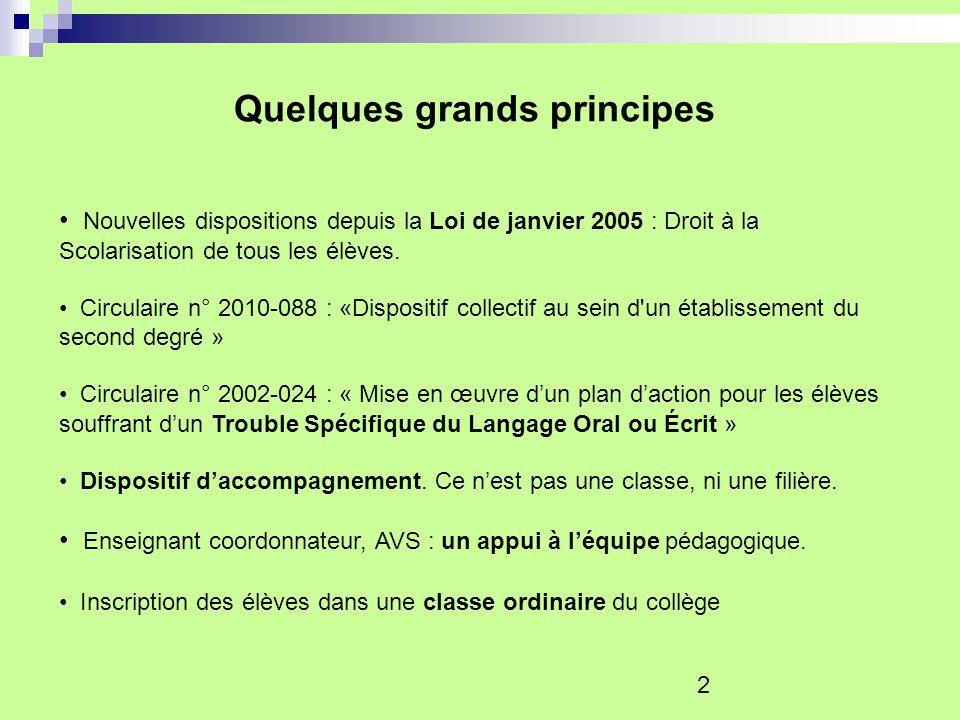 2 Quelques grands principes Nouvelles dispositions depuis la Loi de janvier 2005 : Droit à la Scolarisation de tous les élèves. Circulaire n° 2010-088