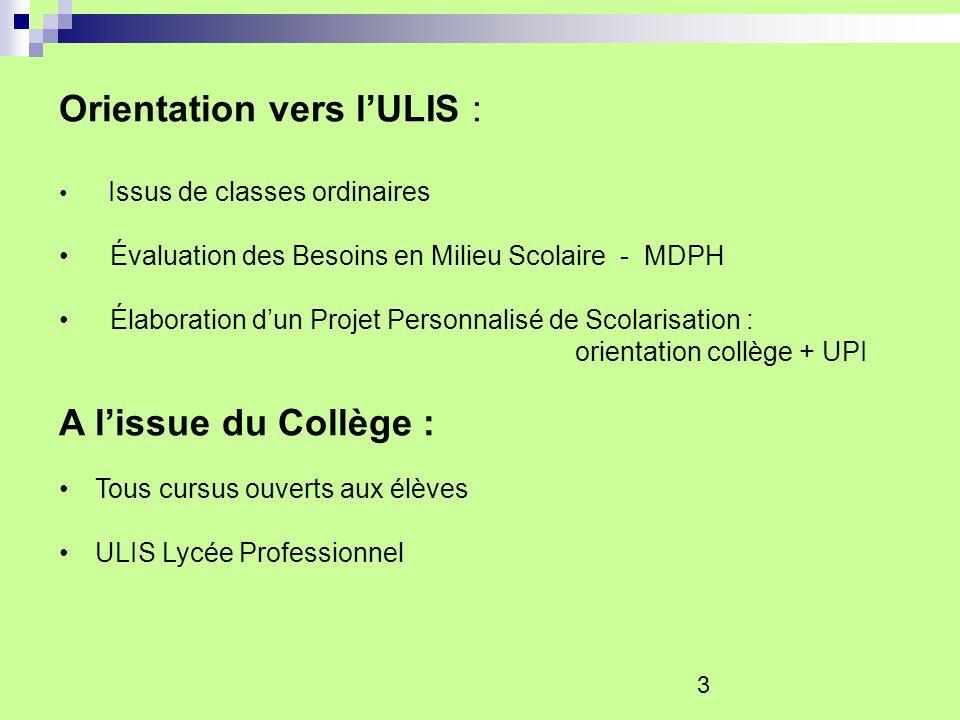 3 Orientation vers lULIS : Issus de classes ordinaires Évaluation des Besoins en Milieu Scolaire - MDPH Élaboration dun Projet Personnalisé de Scolari