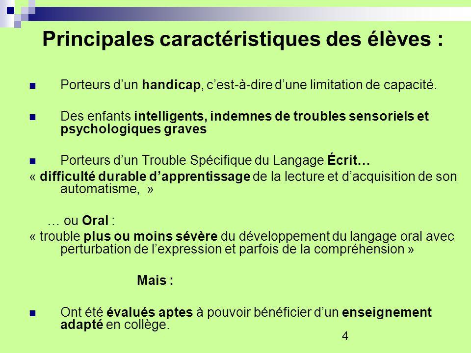 4 Principales caractéristiques des élèves : Porteurs dun handicap, cest-à-dire dune limitation de capacité. Des enfants intelligents, indemnes de trou