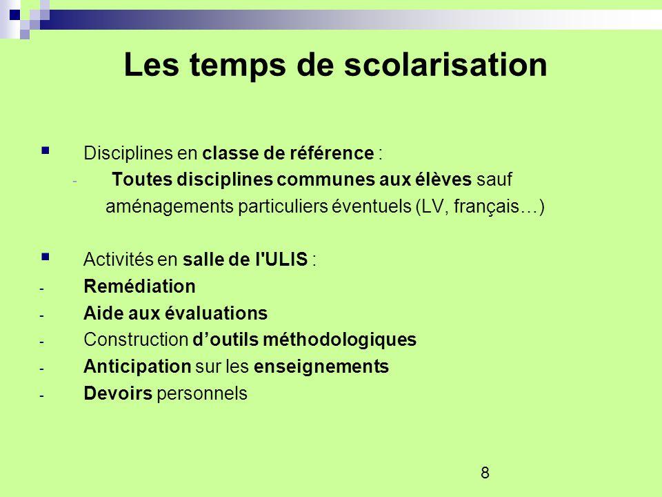 8 Les temps de scolarisation Disciplines en classe de référence : - Toutes disciplines communes aux élèves sauf aménagements particuliers éventuels (L