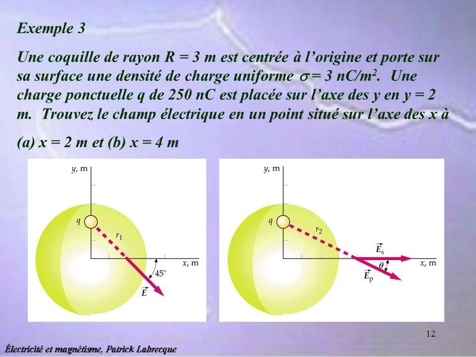 12 Exemple 3 Une coquille de rayon R = 3 m est centrée à lorigine et porte sur sa surface une densité de charge uniforme = 3 nC/m 2. Une charge ponctu