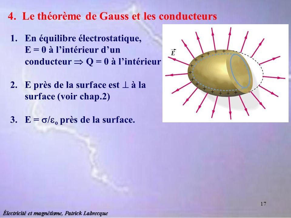 17 4. Le théorème de Gauss et les conducteurs 1.En équilibre électrostatique, E = 0 à lintérieur dun conducteur Q = 0 à lintérieur 2.E près de la surf