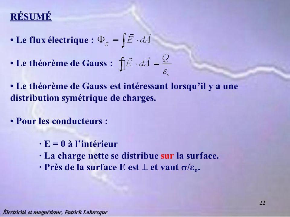 22 RÉSUMÉ Le flux électrique : Le théorème de Gauss : Le théorème de Gauss est intéressant lorsquil y a une distribution symétrique de charges. Pour l