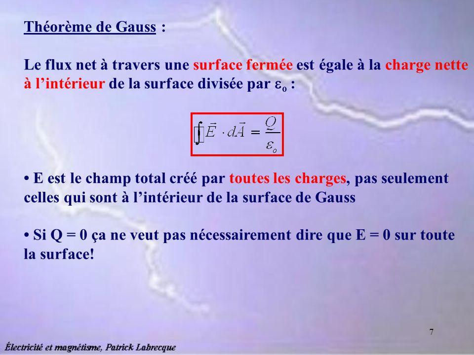 7 Théorème de Gauss : Le flux net à travers une surface fermée est égale à la charge nette à lintérieur de la surface divisée par o : E est le champ t