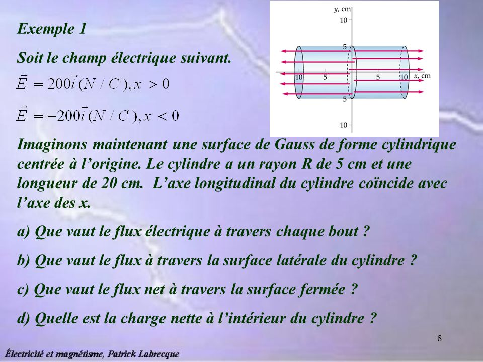 8 Exemple 1 Soit le champ électrique suivant. Imaginons maintenant une surface de Gauss de forme cylindrique centrée à lorigine. Le cylindre a un rayo