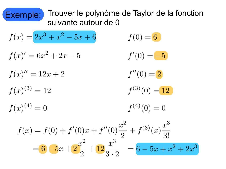 Exemple: Trouver le polynôme de Taylor de la fonction suivante autour de 0