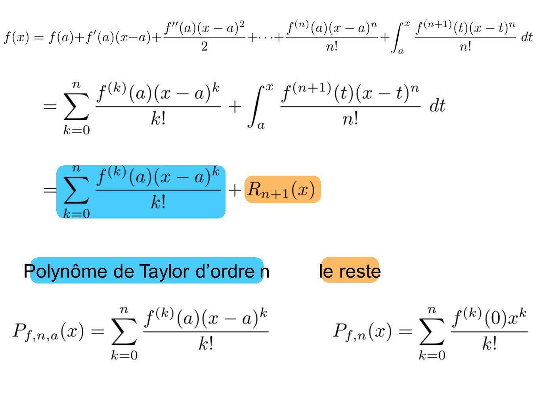 Polynôme de Taylor dordre n le reste