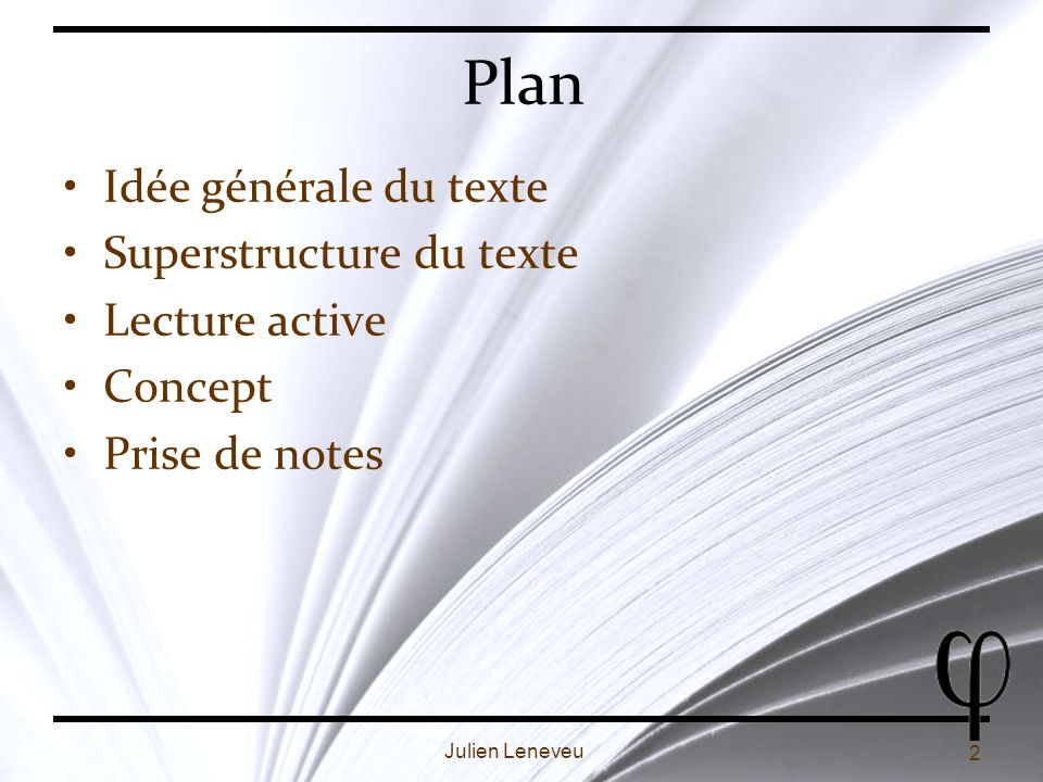 3 Julien Leneveu Lidée générale du texte Fait partie de quoi .