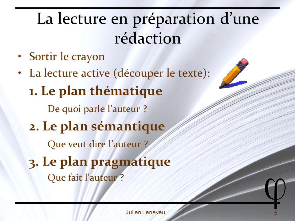 5 Julien Leneveu La lecture en préparation dune rédaction Sortir le crayon La lecture active (découper le texte): 1.