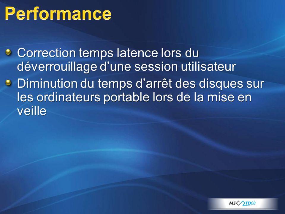 Correction temps latence lors du déverrouillage dune session utilisateur Diminution du temps darrêt des disques sur les ordinateurs portable lors de la mise en veille