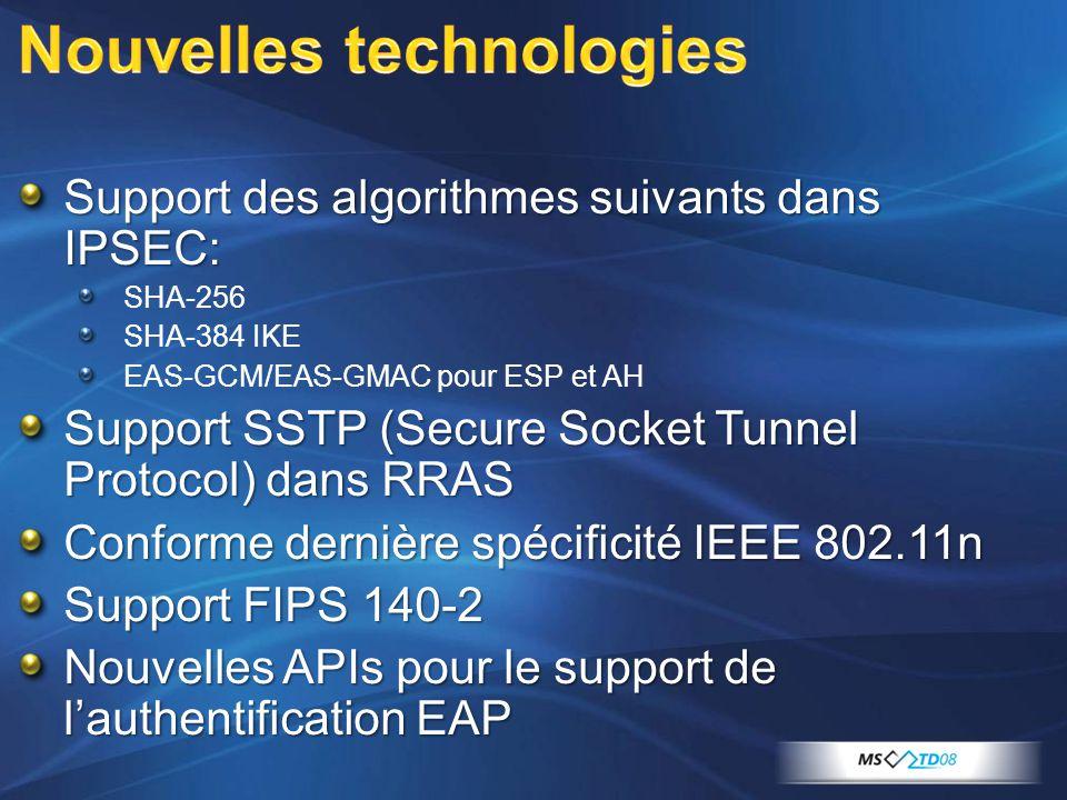 Support des algorithmes suivants dans IPSEC: SHA-256 SHA-384 IKE EAS-GCM/EAS-GMAC pour ESP et AH Support SSTP (Secure Socket Tunnel Protocol) dans RRAS Conforme dernière spécificité IEEE 802.11n Support FIPS 140-2 Nouvelles APIs pour le support de lauthentification EAP