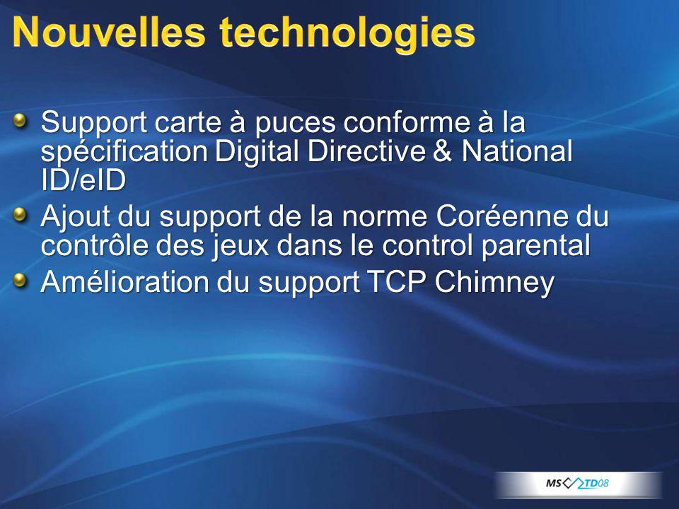 Support carte à puces conforme à la spécification Digital Directive & National ID/eID Ajout du support de la norme Coréenne du contrôle des jeux dans le control parental Amélioration du support TCP Chimney