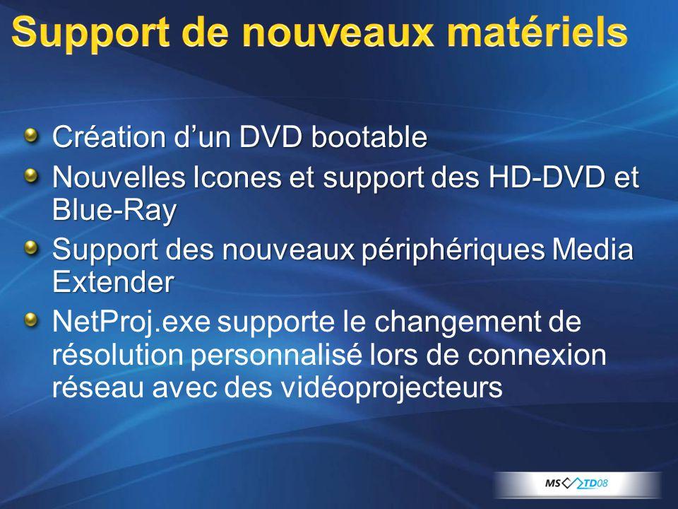 Création dun DVD bootable Nouvelles Icones et support des HD-DVD et Blue-Ray Support des nouveaux périphériques Media Extender NetProj.exe supporte le changement de résolution personnalisé lors de connexion réseau avec des vidéoprojecteurs