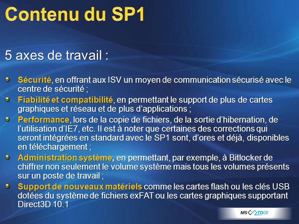 5 axes de travail : Sécurité, en offrant aux ISV un moyen de communication sécurisé avec le centre de sécurité ; Fiabilité et compatibilité, en permettant le support de plus de cartes graphiques et réseau et de plus dapplications ; Performance, lors de la copie de fichiers, de la sortie dhibernation, de lutilisation dIE7, etc.