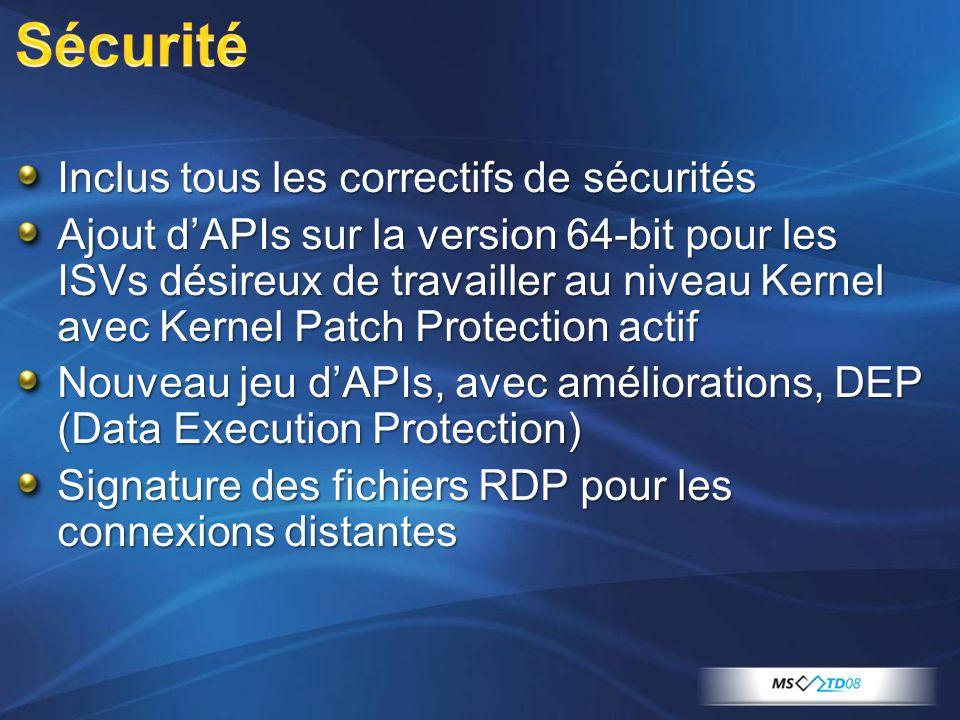 Inclus tous les correctifs de sécurités Ajout dAPIs sur la version 64-bit pour les ISVs désireux de travailler au niveau Kernel avec Kernel Patch Protection actif Nouveau jeu dAPIs, avec améliorations, DEP (Data Execution Protection) Signature des fichiers RDP pour les connexions distantes