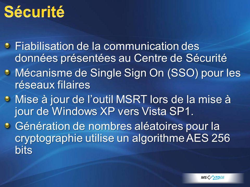 Type dInstallation Windows Update WSUS SCCM 2007 SMS 2003 AudiencePC Domestique, petite entreprise, PC non géré De petite à grande entreprise De moyenne à grande entreprise Date de disponibilité pour une mise à jour Avec le SP1 de Vista Avec les SP1 de Vista Taille X86: 65 MB X64: 125 MB X86: de 65 MB à 662 MB* X64: de 125 MB à 982 MB* X86: de 436 MB à 662 MB X64: de 725 MB à 982 MB Espace disque nécessaire X86: 1170 MB X64: 1505 MB X86: 1170 MB X64: 1505 MB X86: de 2515 MB à 5445 MB X64: de 4105 MB à 7840 MB Date de disponibilité de linstallation intégré N/A 45 jours après le SP1 de Vista Taille totale après installation N/A >3Go