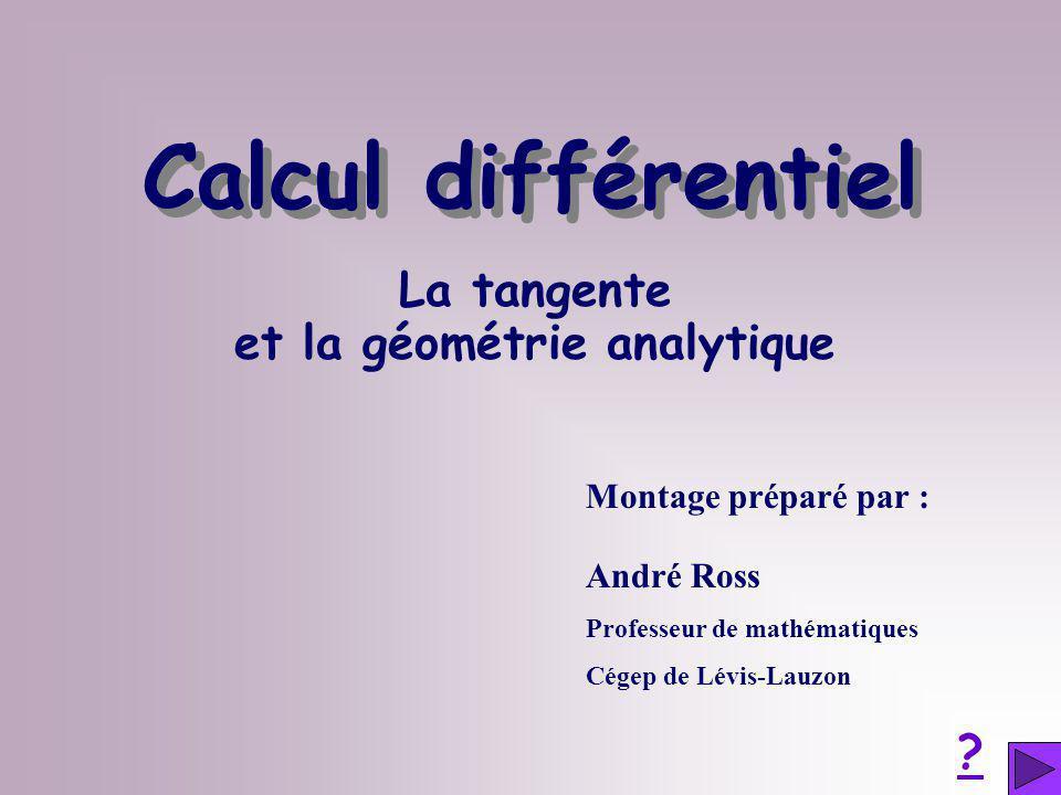 La tangente et la géométrie analytique Montage préparé par : André Ross Professeur de mathématiques Cégep de Lévis-Lauzon ? Calcul différentiel