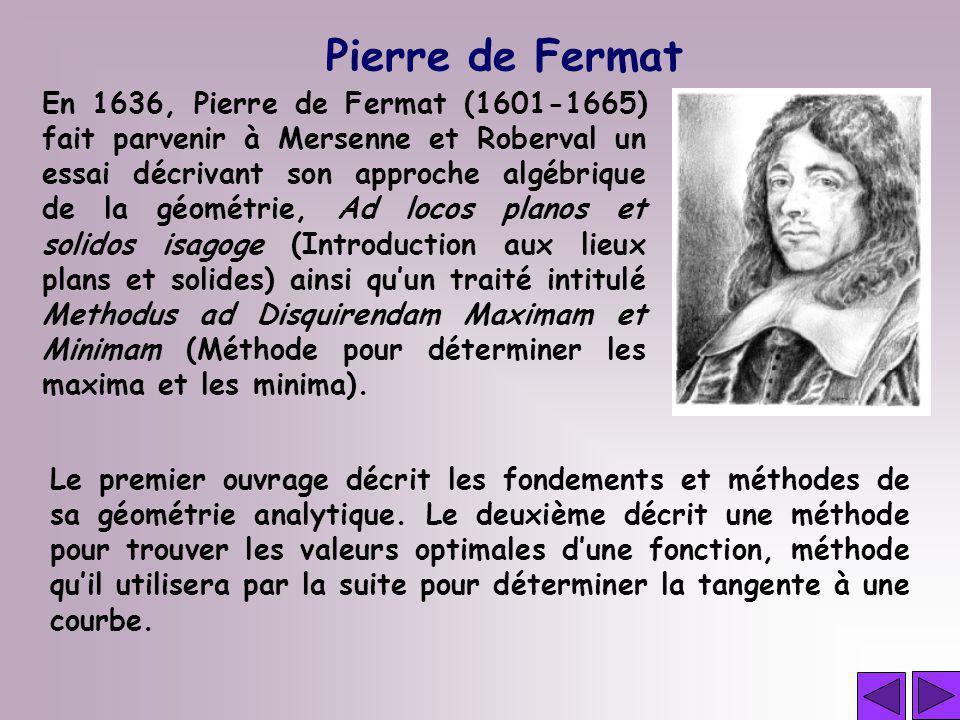 Pierre de Fermat En 1636, Pierre de Fermat (1601-1665) fait parvenir à Mersenne et Roberval un essai décrivant son approche algébrique de la géométrie
