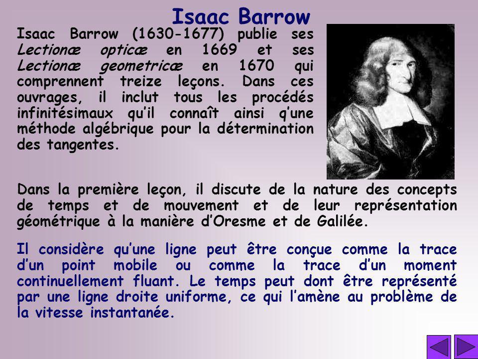 Isaac Barrow Isaac Barrow (1630-1677) publie ses Lectionæ opticæ en 1669 et ses Lectionæ geometricæ en 1670 qui comprennent treize leçons. Dans ces ou