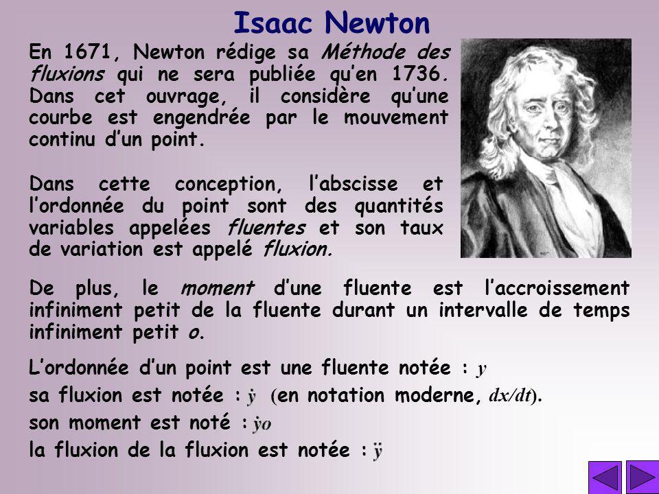 Isaac Newton En 1671, Newton rédige sa Méthode des fluxions qui ne sera publiée quen 1736. Dans cet ouvrage, il considère quune courbe est engendrée p