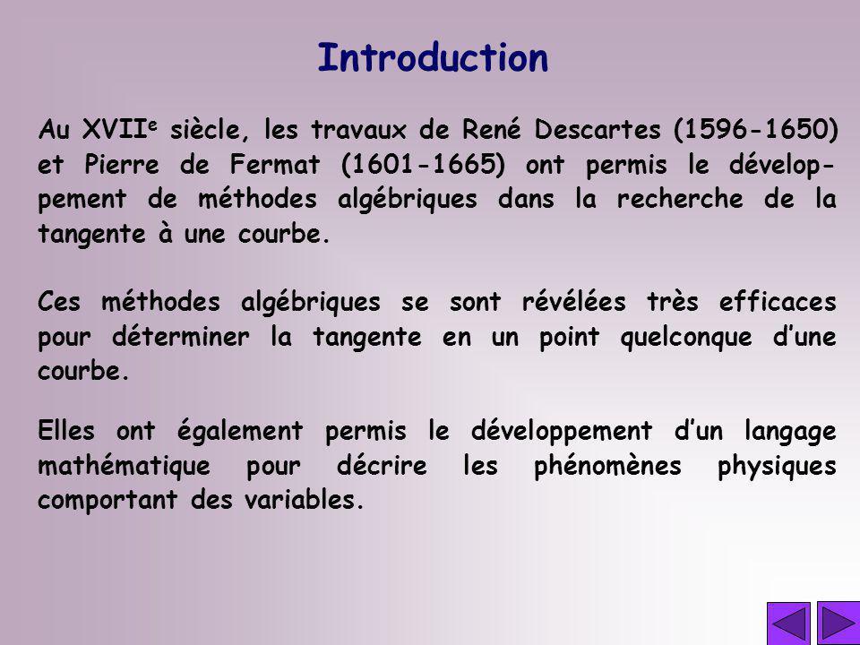 Au XVII e siècle, les travaux de René Descartes (1596-1650) et Pierre de Fermat (1601-1665) ont permis le dévelop- pement de méthodes algébriques dans