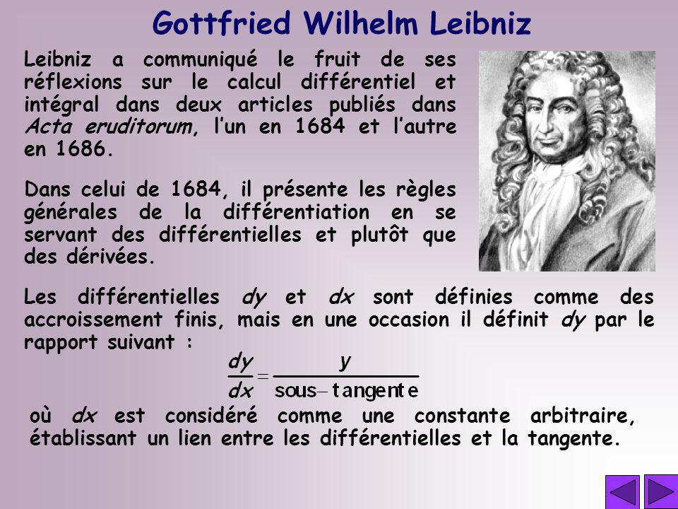 Gottfried Wilhelm Leibniz Leibniz a communiqué le fruit de ses réflexions sur le calcul différentiel et intégral dans deux articles publiés dans Acta