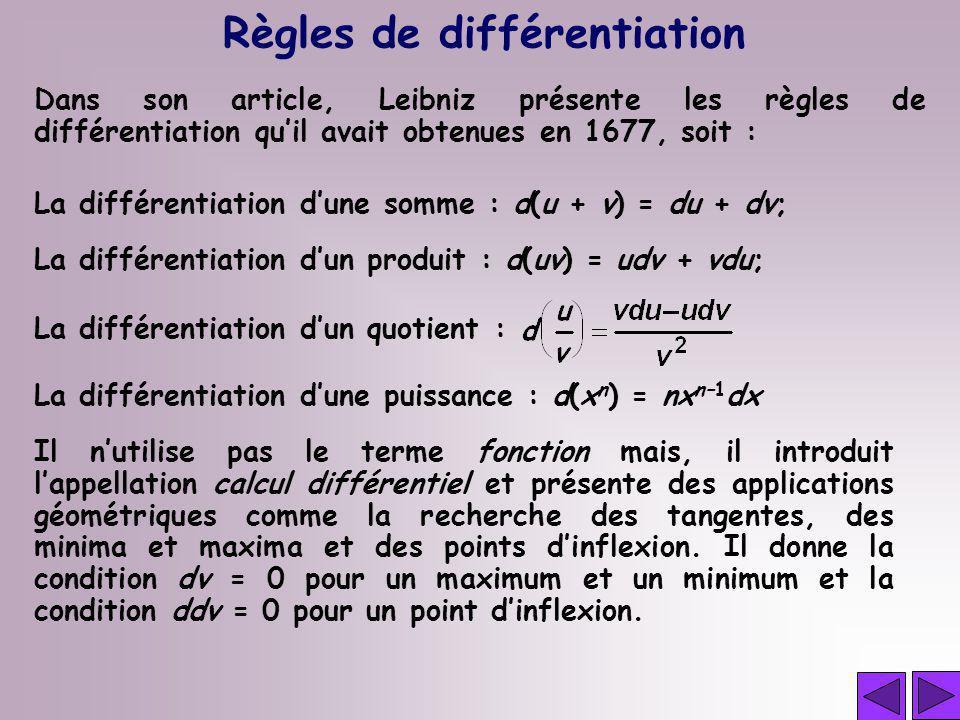 Règles de différentiation Dans son article, Leibniz présente les règles de différentiation quil avait obtenues en 1677, soit : La différentiation dune