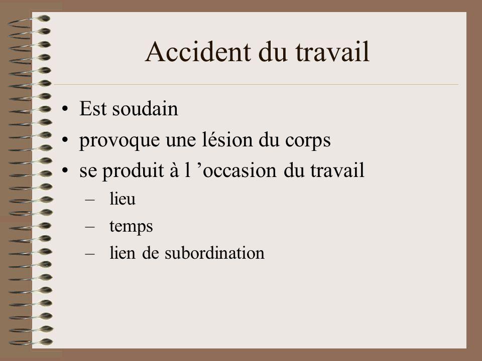 Accident du travail Est soudain provoque une lésion du corps se produit à l occasion du travail –lieu –temps –lien de subordination