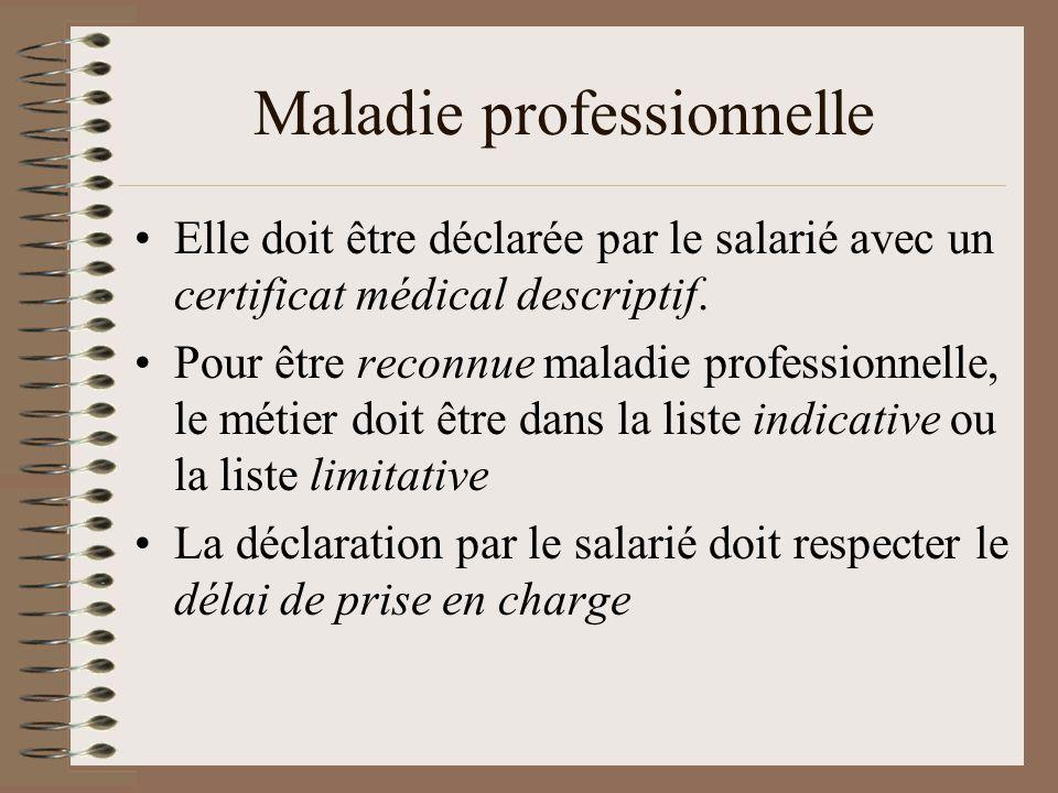 Maladie professionnelle Elle doit être déclarée par le salarié avec un certificat médical descriptif.