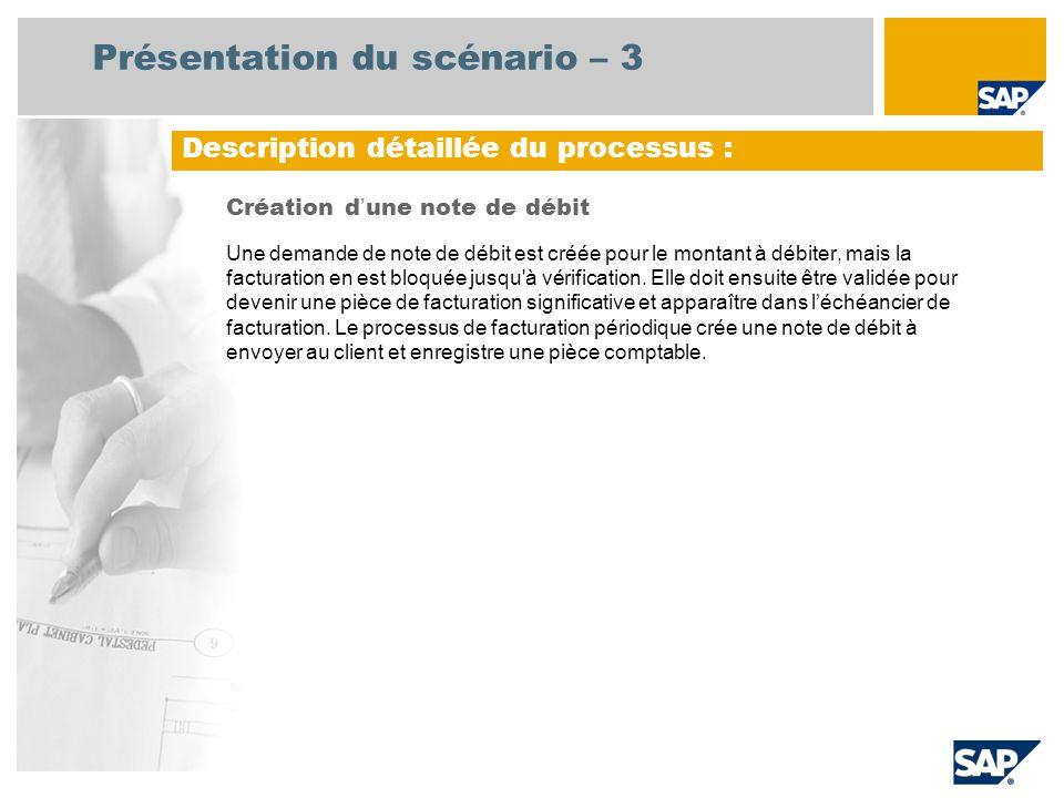 Présentation du scénario – 3 Création d une note de débit Une demande de note de débit est créée pour le montant à débiter, mais la facturation en est