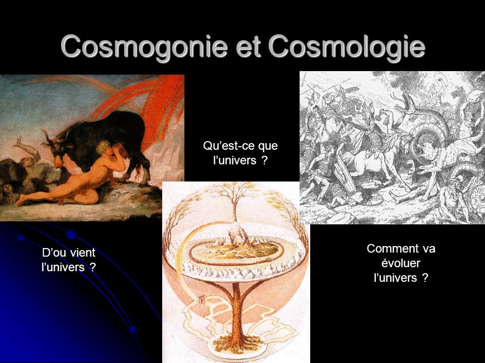 Conclusions Cosmologie moderne : Relativité générale Formation des étoiles et de galaxies Formation des étoiles et de galaxies Fond diffus cosmologique Fond diffus cosmologique Expansion de lunivers Expansion de lunivers Energie noire et matière noire .
