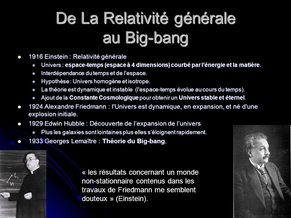 De La Relativité générale au Big-bang 1916 Einstein : Relativité générale 1916 Einstein : Relativité générale Univers : espace-temps (espace à 4 dimensions) courbé par lénergie et la matière.