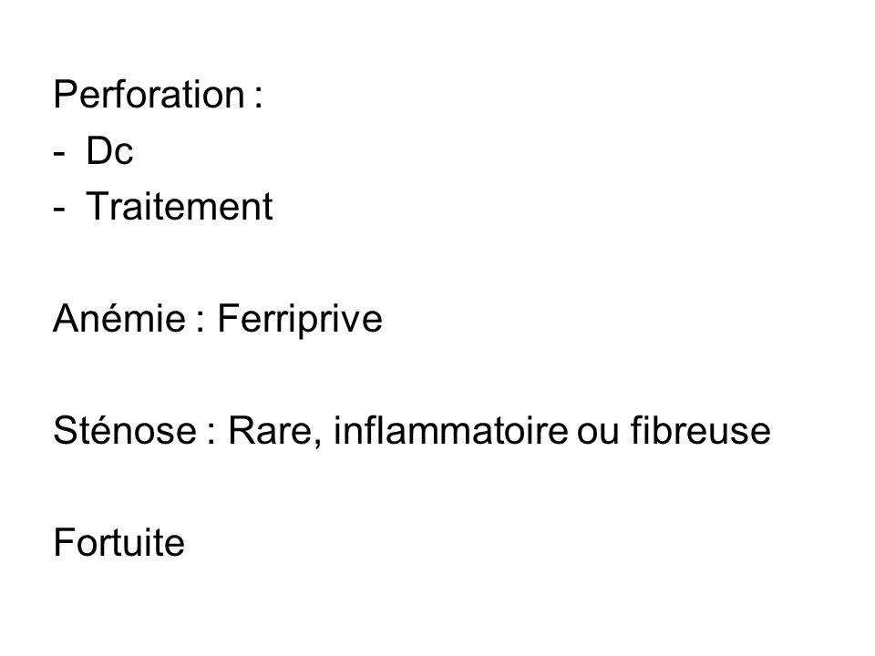 Perforation : -Dc -Traitement Anémie : Ferriprive Sténose : Rare, inflammatoire ou fibreuse Fortuite