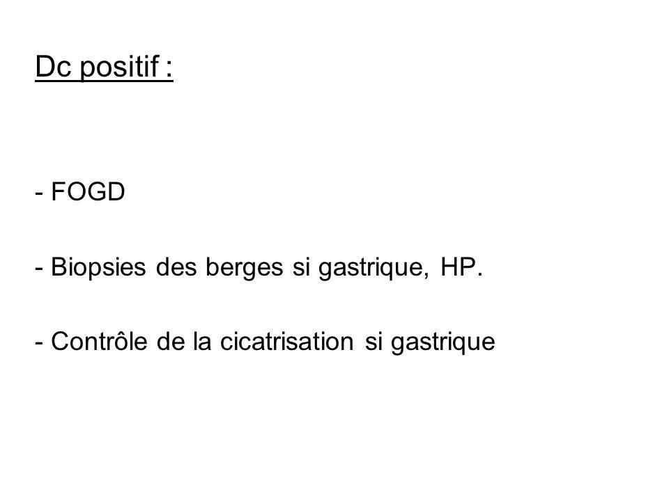 Dc positif : - FOGD - Biopsies des berges si gastrique, HP. - Contrôle de la cicatrisation si gastrique