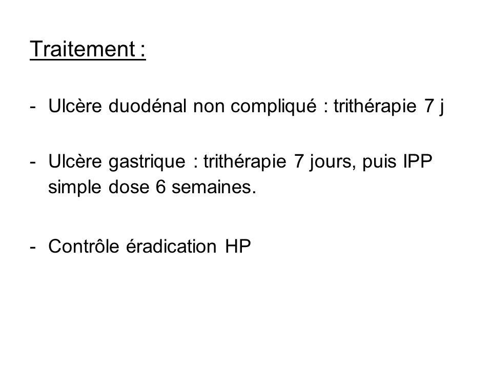Traitement : -Ulcère duodénal non compliqué : trithérapie 7 j -Ulcère gastrique : trithérapie 7 jours, puis IPP simple dose 6 semaines. -Contrôle érad