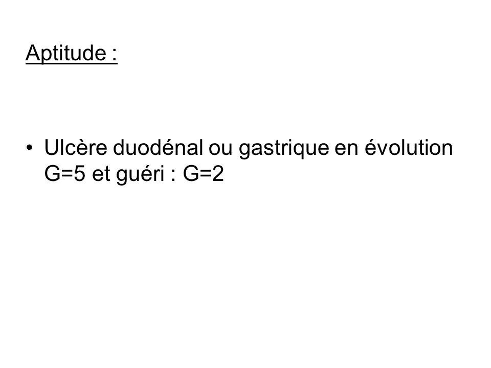 Aptitude : Ulcère duodénal ou gastrique en évolution G=5 et guéri : G=2