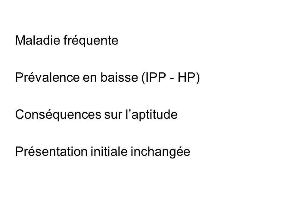 Maladie fréquente Prévalence en baisse (IPP - HP) Conséquences sur laptitude Présentation initiale inchangée
