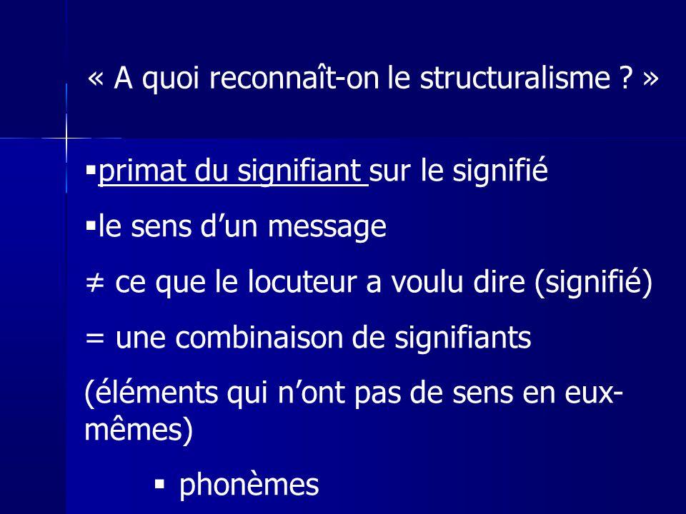 primat du signifiant sur le signifié le sens dun message ce que le locuteur a voulu dire (signifié) = une combinaison de signifiants (éléments qui non