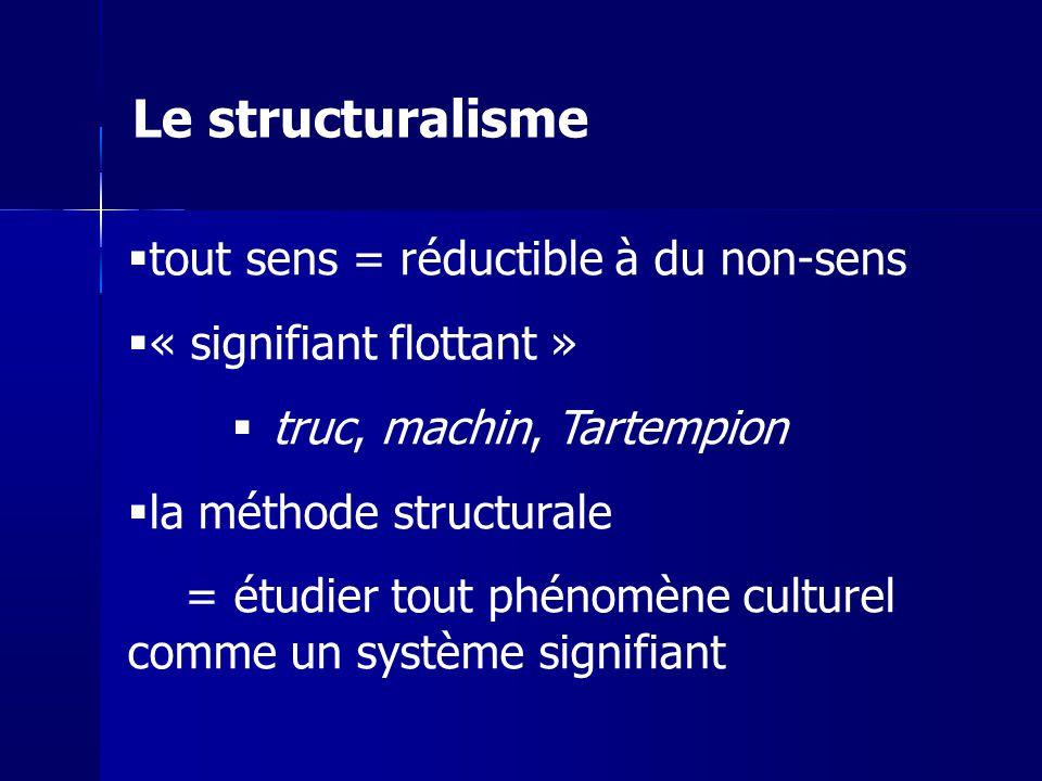 tout sens = réductible à du non-sens « signifiant flottant » truc, machin, Tartempion la méthode structurale = étudier tout phénomène culturel comme u