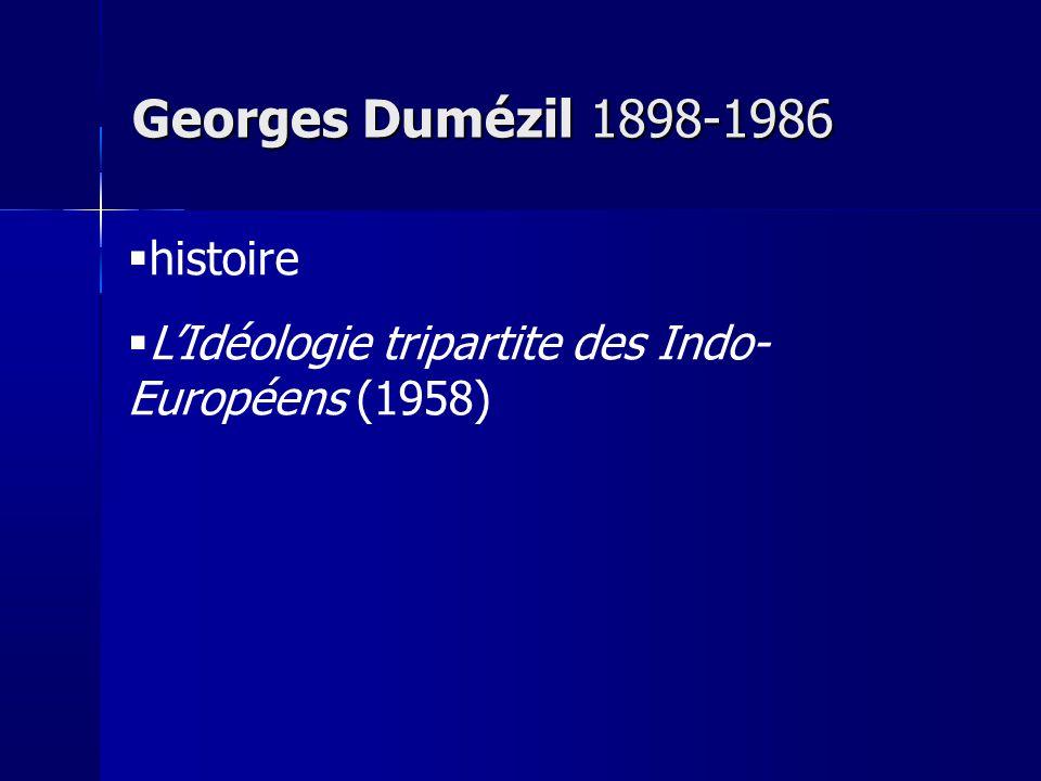 histoire LIdéologie tripartite des Indo- Européens (1958) Georges Dumézil 1898-1986