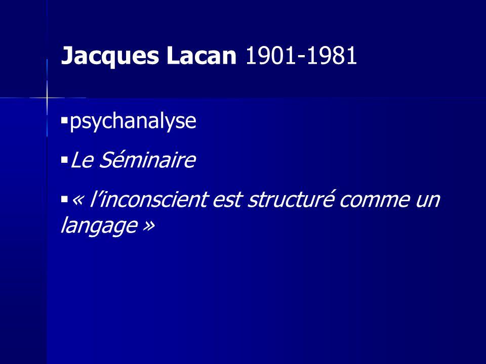 psychanalyse Le Séminaire « linconscient est structuré comme un langage » Jacques Lacan 1901-1981