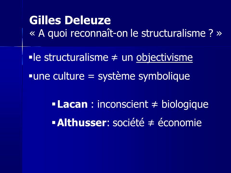 le structuralisme un objectivisme une culture = système symbolique Lacan : inconscient biologique Althusser: société économie Gilles Deleuze « A quoi