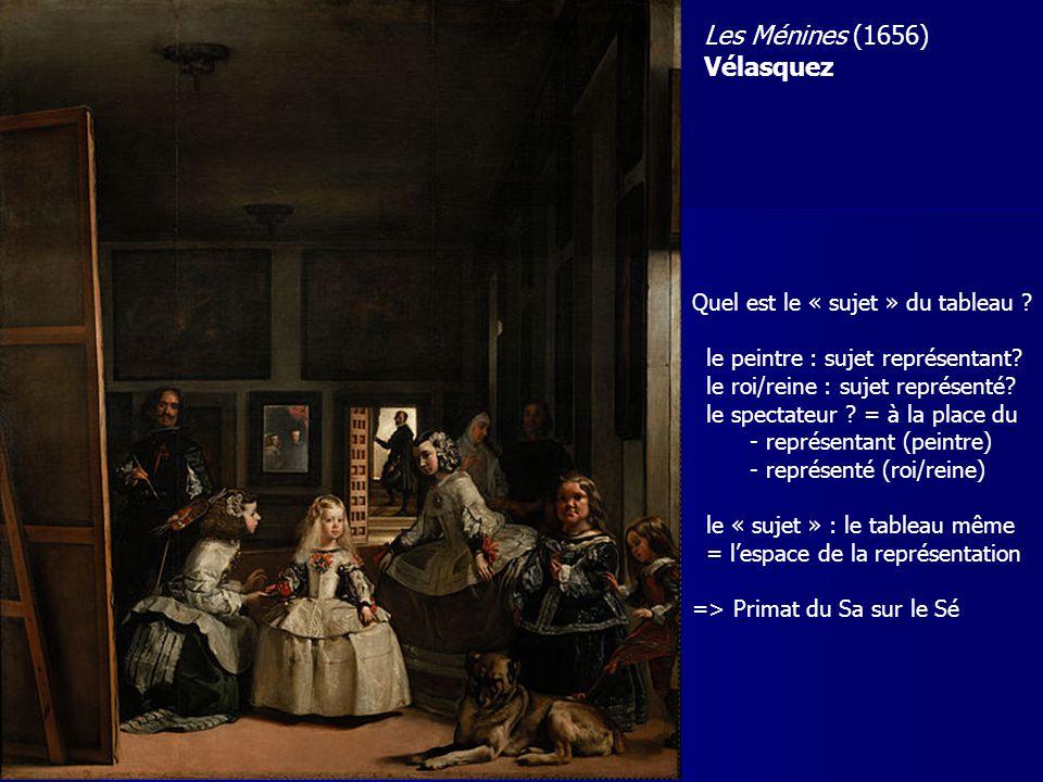 Quel est le « sujet » du tableau ? le peintre : sujet représentant? le roi/reine : sujet représenté? le spectateur ? = à la place du - représentant (p