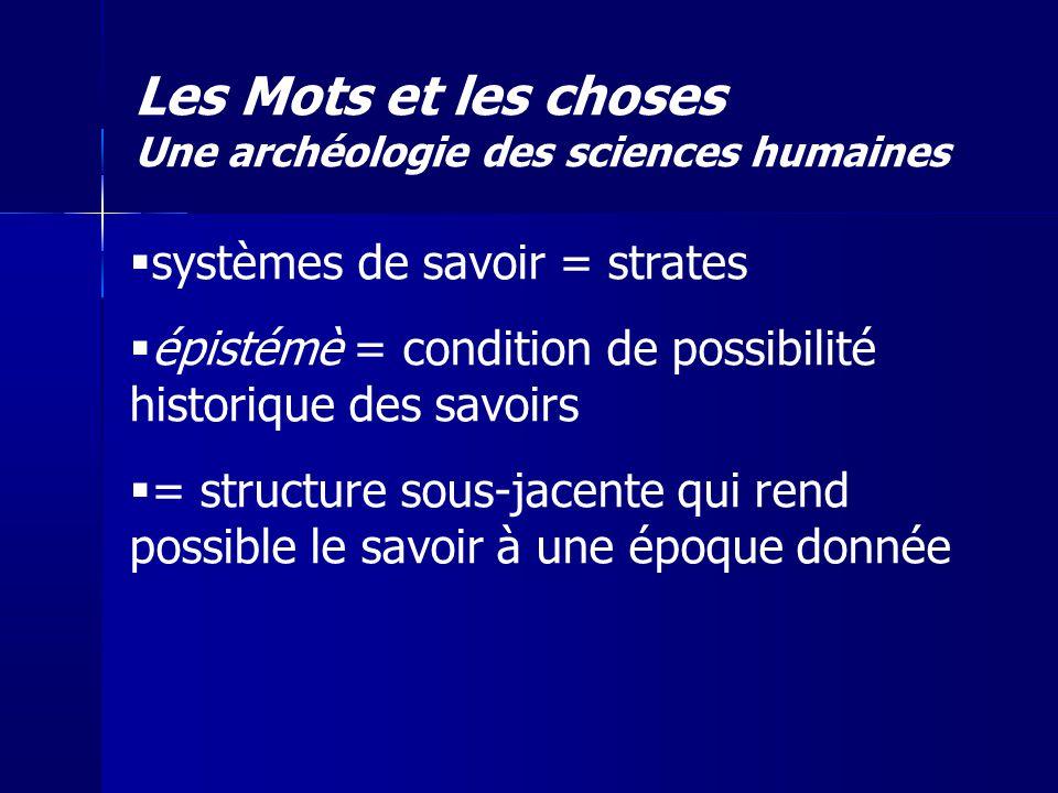systèmes de savoir = strates épistémè = condition de possibilité historique des savoirs = structure sous-jacente qui rend possible le savoir à une épo
