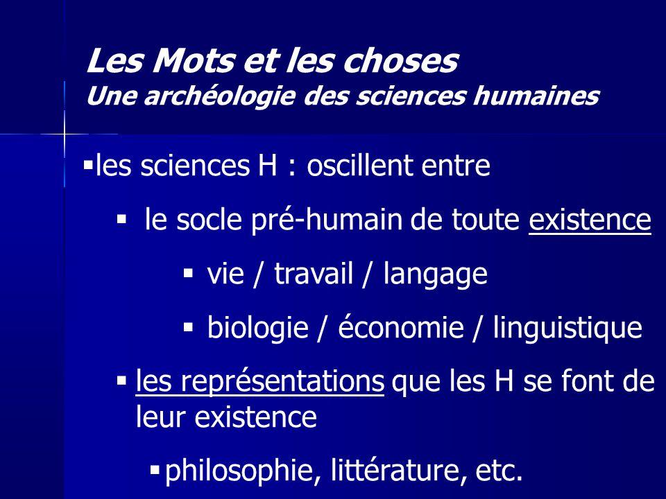 les sciences H : oscillent entre le socle pré-humain de toute existence vie / travail / langage biologie / économie / linguistique les représentations