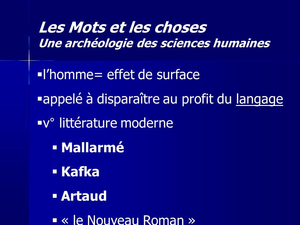 lhomme= effet de surface appelé à disparaître au profit du langage v° littérature moderne Mallarmé Kafka Artaud « le Nouveau Roman » Les Mots et les c