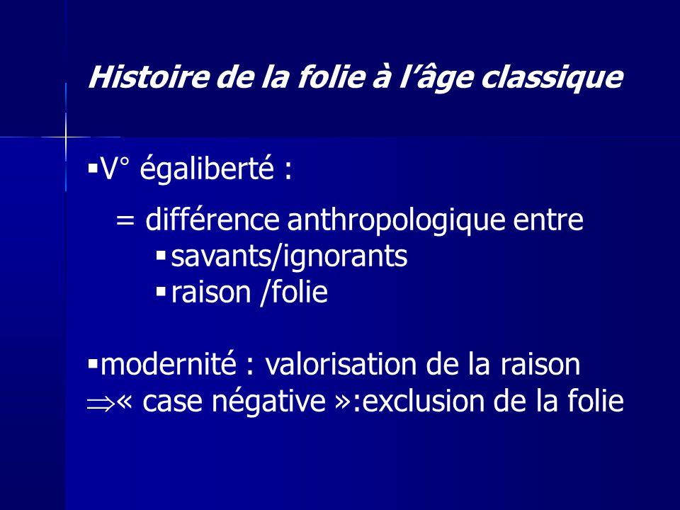 V° égaliberté : = différence anthropologique entre savants/ignorants raison /folie modernité : valorisation de la raison « case négative »:exclusion d
